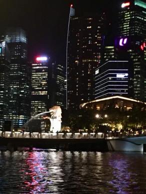 Merlion harbor at night